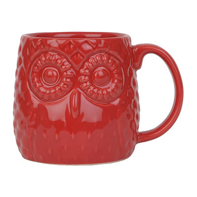 Cherry Red Embossed Ceramic Owl Mug