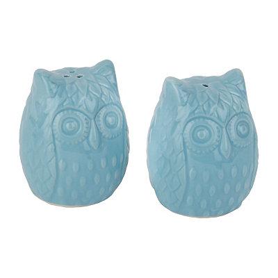 Aqua Owls Salt and Pepper Shaker Set