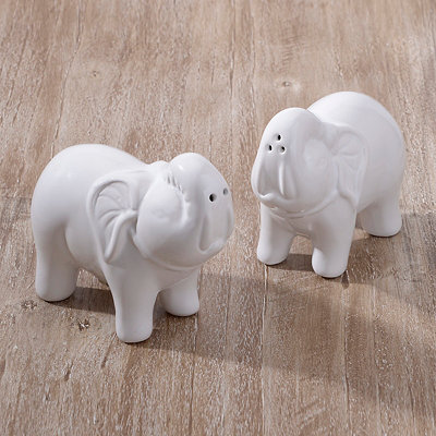 White Elephants Salt and Pepper Shaker Set