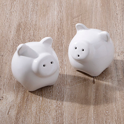 White Pigs Salt and Pepper Shaker Set