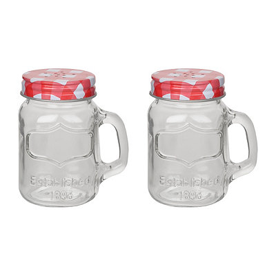 Gingham Mason Jar Salt and Pepper Shaker Set