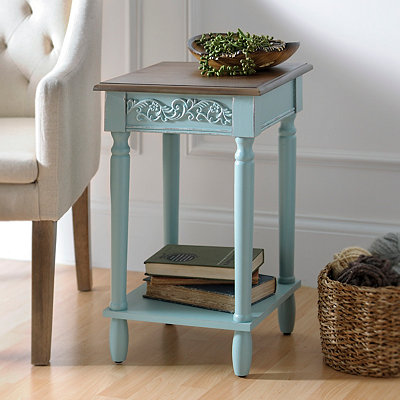 Aqua Wooden Side Table