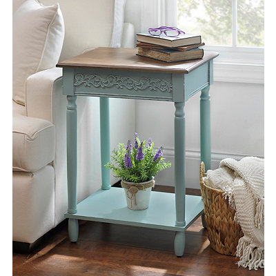 Aqua Wooden Accent Table
