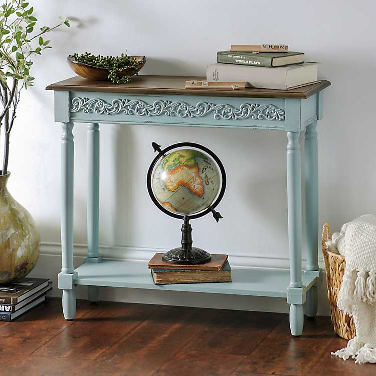 Aqua wooden console table kirklands for Sofa table kirklands