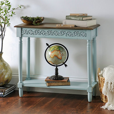 Aqua Wooden Console Table