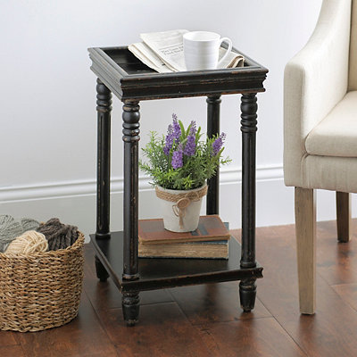 Distressed Black Wooden Side Table