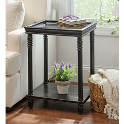 Distressed Black Wooden Accent Table
