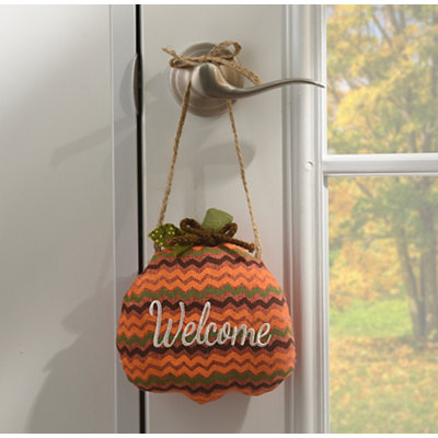 Chevron Pumpkin Welcome Door Hanger
