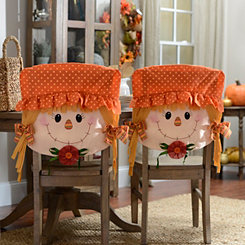 Smiling Scarecrow Girl Chair Covers, Set of 2