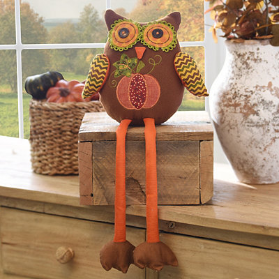 Plush Harvest Owl Shelf Sitter