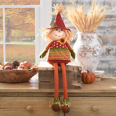 Plush Scarecrow Girl Shelf Sitter
