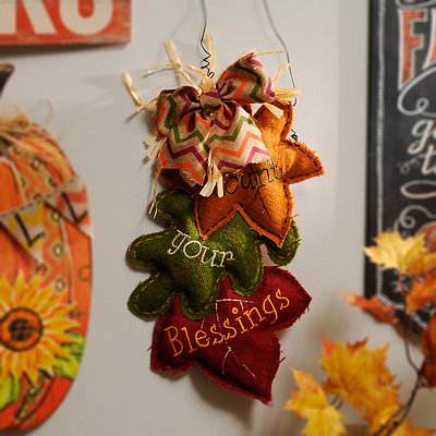 Count Your Blessings Autumn Leaves Wall Hanger