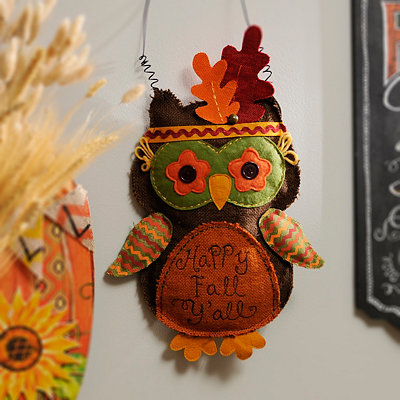 Happy Fall Y'all Owl Wall Hanger