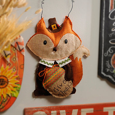 Give Thanks Fox Wall Hanger