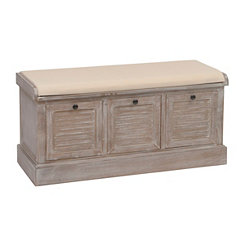 Gray Shutter Panel 3-Drawer Storage Bench