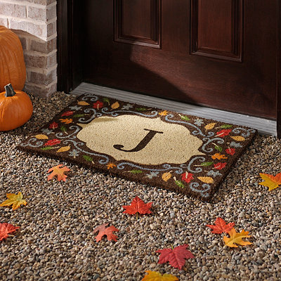 Monogram J Harvest Leaf Doormat