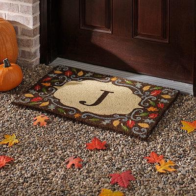 Monogram J Harvest Leaf Doormat