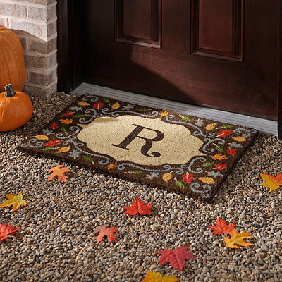 Monogram R Harvest Leaf Doormat