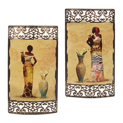 Safari Women Metal Plaques, Set of 2