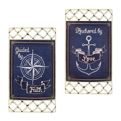 Nautical Sentiment Metal Plaques, Set of 2