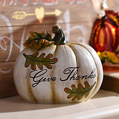 Give Thanks Ivory Pumpkin Statue