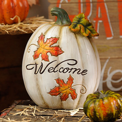 Welcome Ivory Pumpkin Statue