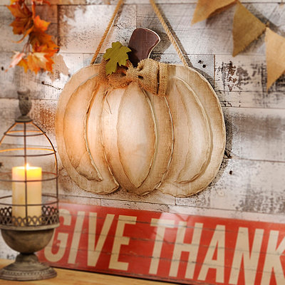 Distressed Ivory Pumpkin Wall Hanger