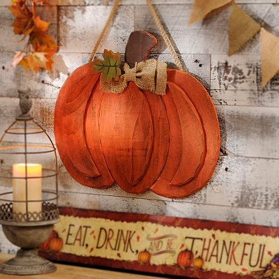 Distressed Orange Pumpkin Wall Hanger