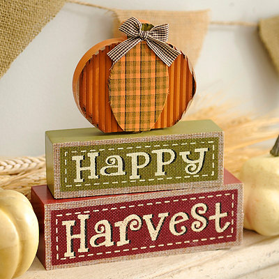 Happy Harvest Word Block Statue