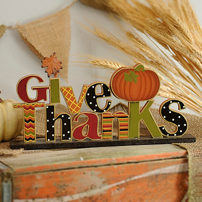 Give Thanks Patterned Tabletop Sign