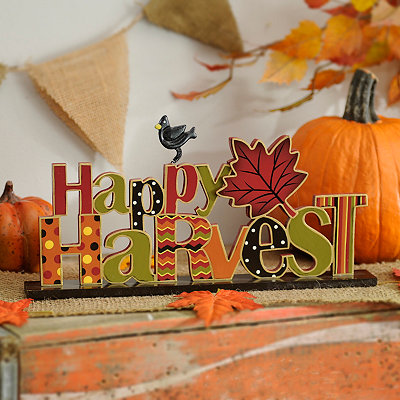 Happy Harvest Patterned Tabletop Sign
