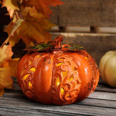 Pre-Lit Orange Ceramic Pumpkin