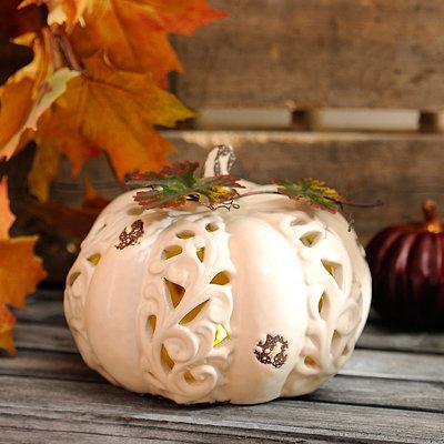 Pre-Lit Ivory Ceramic Pumpkin