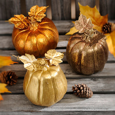 Metallic Mini Pumpkins, Set of 3