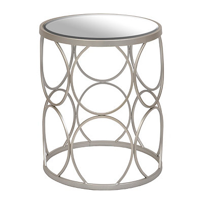 Silver Circles Mirrored Side Table