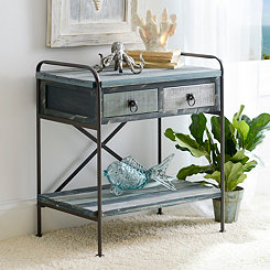 Distressed Coastal 2-Drawer Console Table