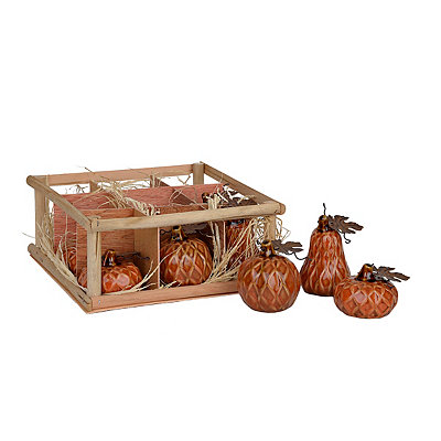 Orange Diamond Ceramic Pumpkins, Set of 9