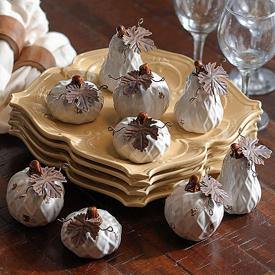 Ivory Diamond Ceramic Pumpkins, Set of 9