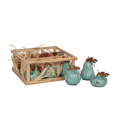Aqua Diamond Ceramic Pumpkins, Set of 9