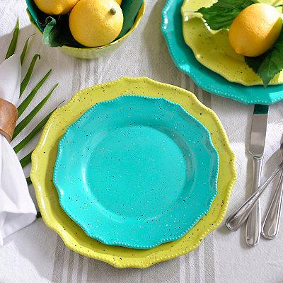 Speckled Turquoise Melamine Dessert Plate