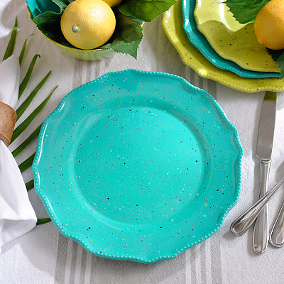 Speckled Turquoise Melamine Dinner Plate