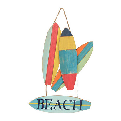 Beach Surfboard Wooden Plaque
