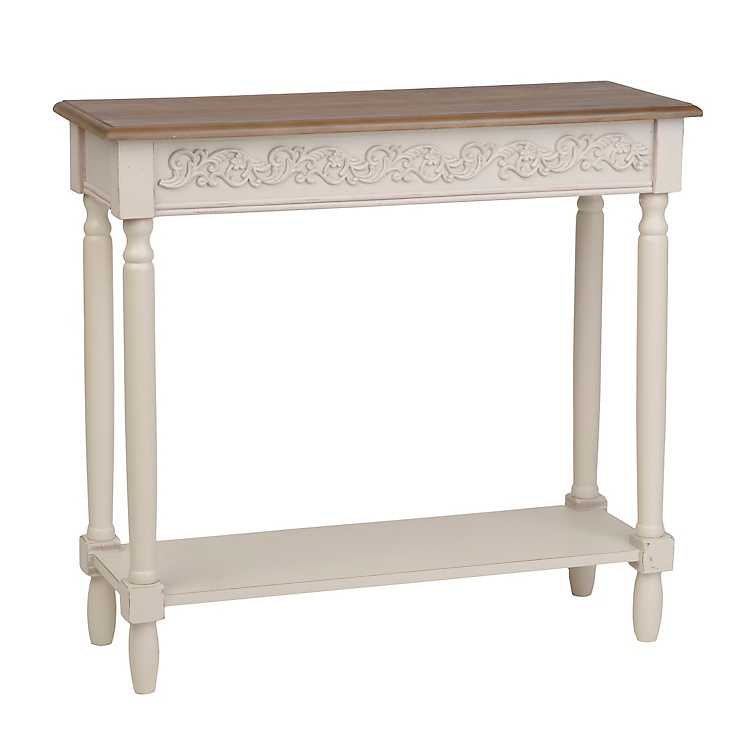 Cream wooden console table kirklands for Sofa table kirklands