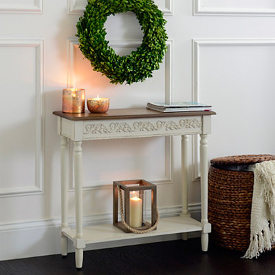 Cream Wooden Console Table