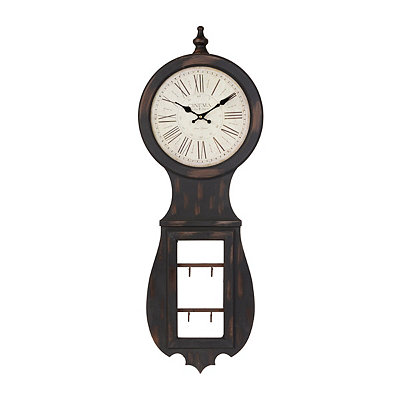 Distressed Brown Wall Clock with Hooks