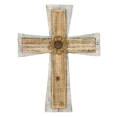 Distressed Cream Wood Plank Cross Plaque