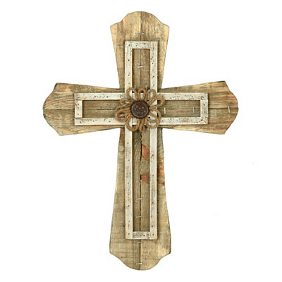 Distressed Natural Layered Wood Plank Cross Plaque