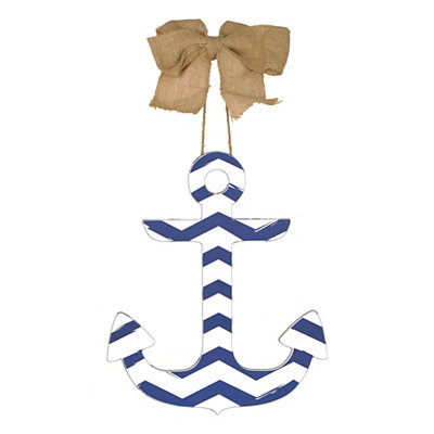 Blue & White Chevron Anchor Plaque