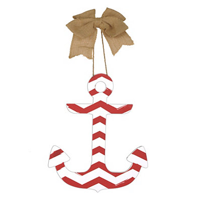 Red & White Chevron Anchor Plaque