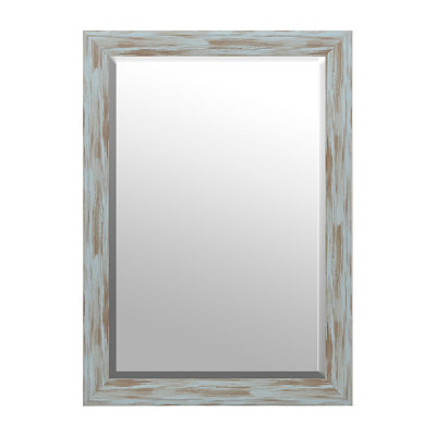 Distressed Blue Driftwood Framed Mirror, 30x42